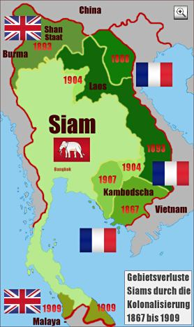 Thailand Map: Siam Territorial losses colonialisation Indochina 1867-1909
